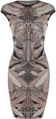 Alexander McQueen Black/Yellow Dragonfly Jacquard Pencil Dress