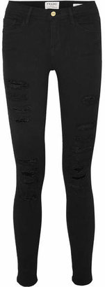 Frame Le Skinny De Jeanne Distressed Mid-rise Jeans - Black