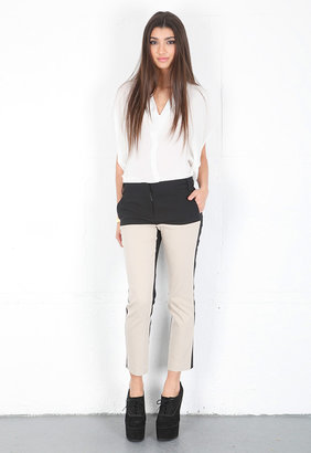 Tibi Milo Suiting Cropped Pant in Black/Sand Multi