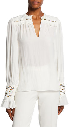 Ramy Brook Cooper Embroidered Studded Top