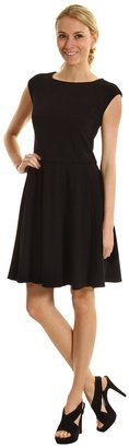Eliza J Pleated Fit and Flare Dress (Black) - Apparel