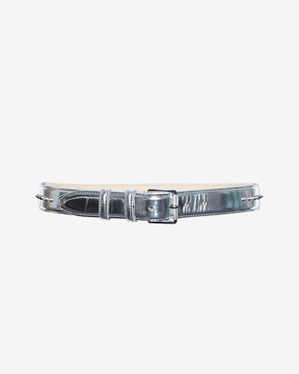 Barbara Bui Spiked Leather Belt: Silver