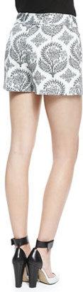 Diane von Furstenberg Naples Floral Stamp Shorts, Black/White