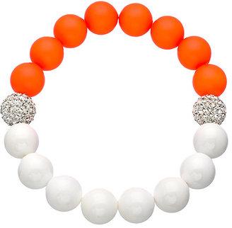 Very Me White Coral Neon Orange Stretch Bead Bracelet