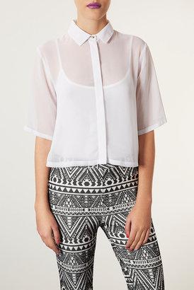 Topshop Crop Pleat Back Shirt