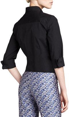 Carolina Herrera Three-Quarter-Sleeve Classic Shirt