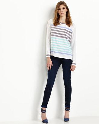 Equipment Liam Stripe Silk Blouse, Bright White