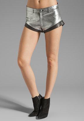 Talulah Moon Orchid Cuffed Leather Mini Shorts