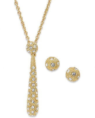 Charter Club Jewelry Set, Gold-Tone Crystal Drop Necklace and Stud Earrings