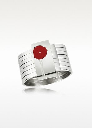 Kenzo Flower - Sterling Silver Stacked Ring w/Red Lacquer