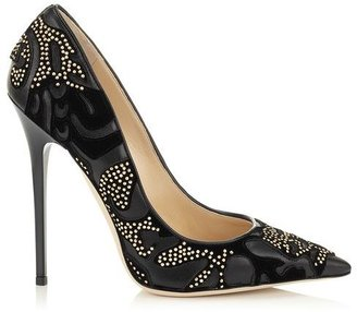 Jimmy Choo Anouk Flocked Leather with Studs Pointy Toe Pumps