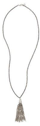 LOFT Long Gunmetal Tassel Necklace