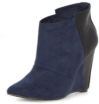 Dorothy Perkins Navy/black wedge ankle boots