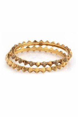 House Of Harlow Spike Stack Bangle Set in Yellow Gold