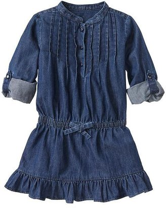 Gap Convertible pintuck denim dress