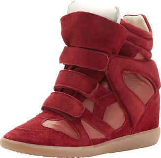 Isabel Marant Burt High-Top Wedge Sneaker, Red