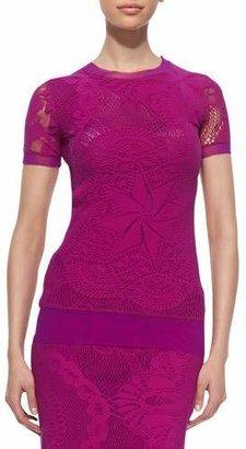 Jean Paul Gaultier Lace & Crochet Georgette-Trim Tee $295 thestylecure.com