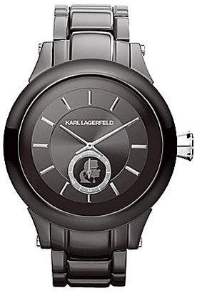 Karl Lagerfeld Classic Gunmetal Logo Dial Bracelet Watch