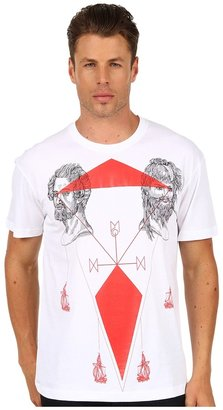 McQ by Alexander McQueen Tattoo Map Drop Shoulder Tee (Optic White) - Apparel