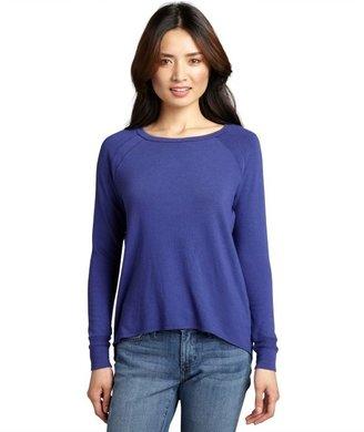 LnA royal blue knit crewneck long sleeve high-low 'Bristol' sweater