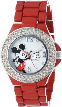 Disney Women's MK2071 Mickey Mouse Red Enamel Bracelet Watch