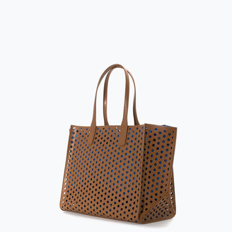 Zara Large Perforated Shopper Bag