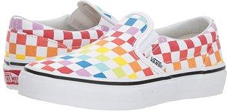 Vans Kids Classic Slip-On (Little Kid/Big Kid) ((Checkerboard) Rainbow/True White) Girls Shoes