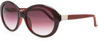 The Row Oval Leather-Arm Sunglasses, Red