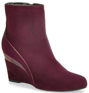 Aquatalia by Marvin K Yale - Suede Wedge Booties in Wine