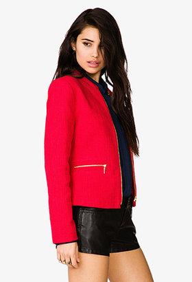 Forever 21 Zip Pocket Tweed Jacket