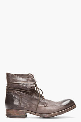 Officine Creative Dark Brown Polished Leather Shine Boots
