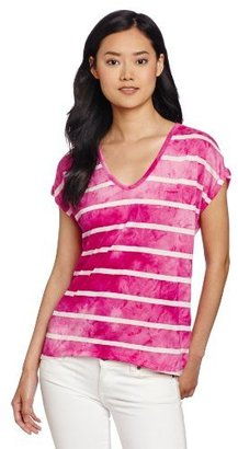 Chaus Women's Short Sleeve Tie Dye Stripe V-Neck Top
