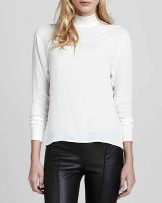 Theory Aerol Silk Turtleneck Top