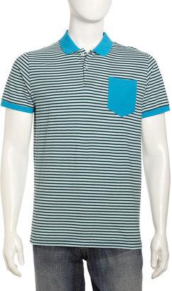 Ben Sherman Solid-Collar Striped Polo, Blue/Green