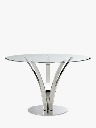 John Lewis & Partners Moritz 4 Seater Glass Top Dining Table, Stainless Steel