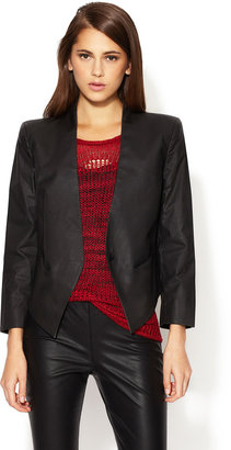 Coated Stretch Cotton Cropped Blazer