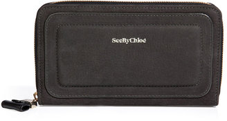 See by Chloe Leather Zip-Around Wallet in Black