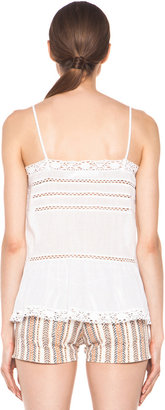 Etoile Isabel Marant Gaomi Cotton Voile and Lace Tank in Blanc