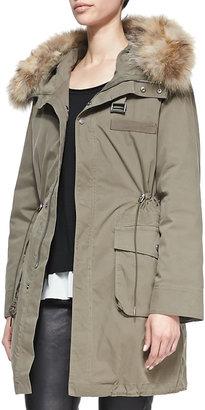 Rebecca Minkoff Morris Fur-Trim Hoodie Parka. Army