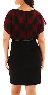 JCPenney Alyx® Plaid Belted Dress - Plus