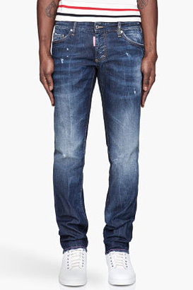 DSquared DSQUARED2 Indigo medium wash 11oz. pink-detailed jeans