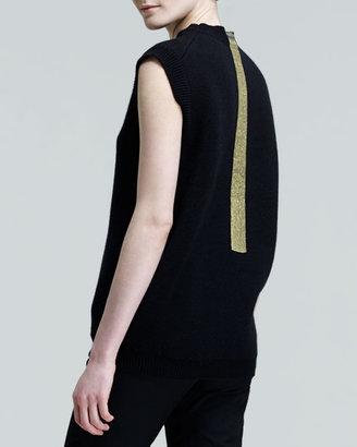 Jil Sander Cap-Sleeve Gold-Stripe Top