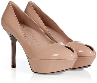 Sergio Rossi Nude Patent Leather Platform Peep-Toes