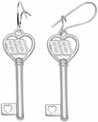 """Insignia Collection NASCAR Dale Earnhardt Jr. Sterling Silver """"88"""" Heart Key Drop Earrings"""