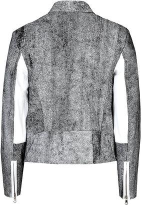 3.1 Phillip Lim Crackle Leather Biker Jacket in White