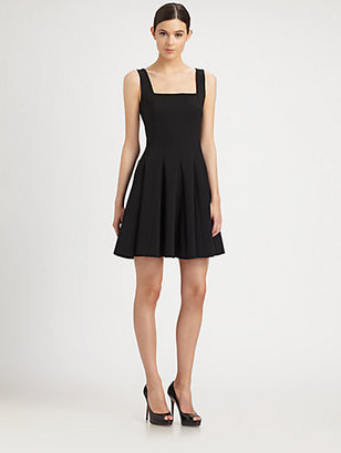 Moschino Square-Neck Pleated Dress