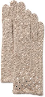 Portolano Cashmere Rhinestone-Detail Gloves, Nile Brown