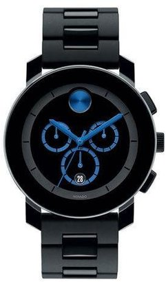 Movado Bold 43.5mm Bold Chronograph Watch, Black/Blue $750 thestylecure.com