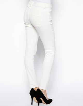 Asos Whitby Low Rise Skinny Ankle Grazer Jeans in White with Ripped Knee