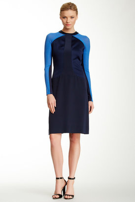 Bill Blass Colorblock Long Sleeve Dress